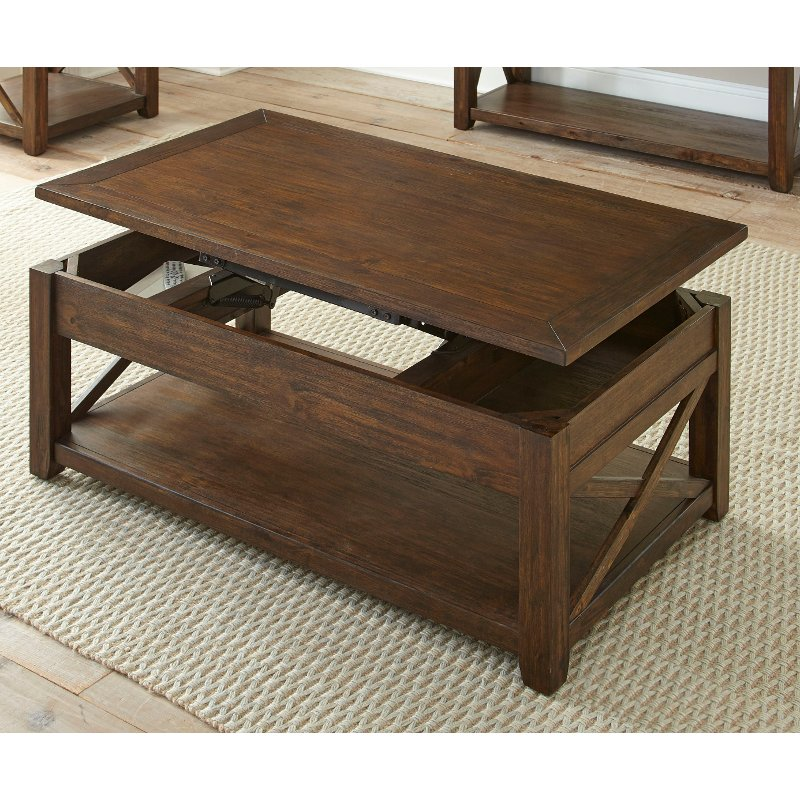 Mocha Brown Lift Top Coffee Table - Lenka RC Willey Furniture Store