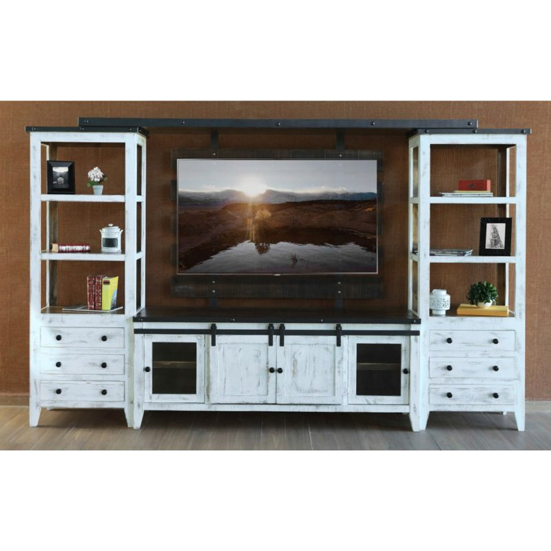 Distressed White 4 Piece Modern Entertainment Center   Taz