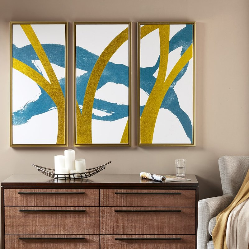 Turquoise and Gold Framed Wall Art with Frames - Set of 3 | RC ...