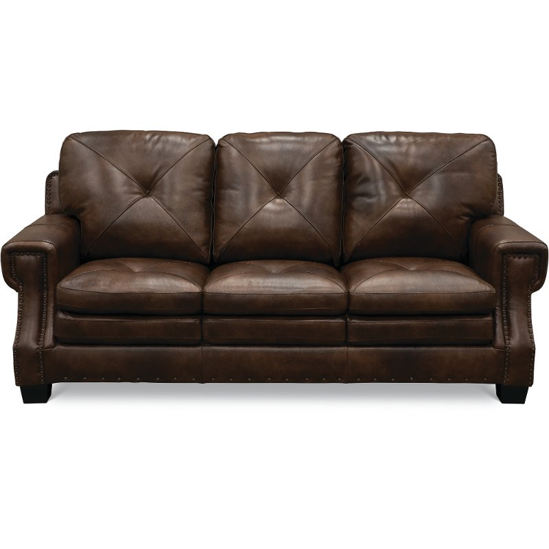Classic Traditional Dark Brown Leather Sofa   Savannah | RC Willey Furniture  Store