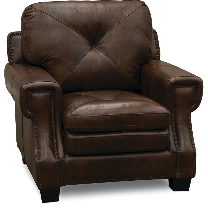 Classic Traditional Dark Brown Leather Chair   Savannah | RC Willey Furniture  Store