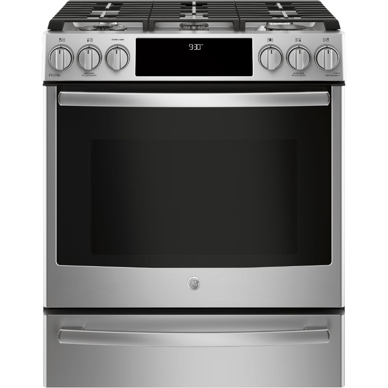 ge profile series 30 inch slide in front control gas range stainless steel rc willey. Black Bedroom Furniture Sets. Home Design Ideas