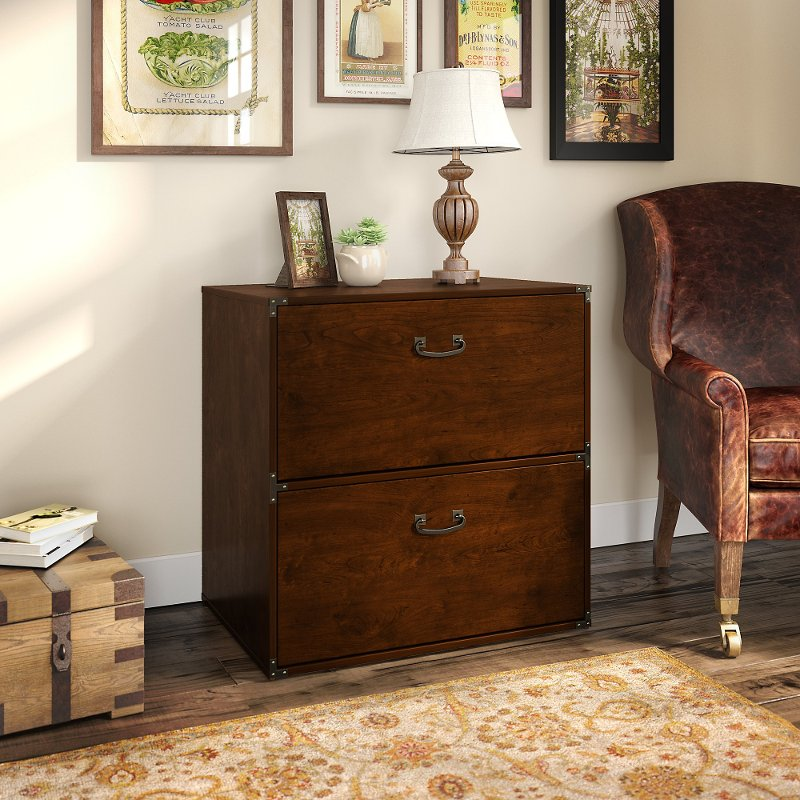 Cherry 2 Drawer Lateral File Cabinet   Ironworks