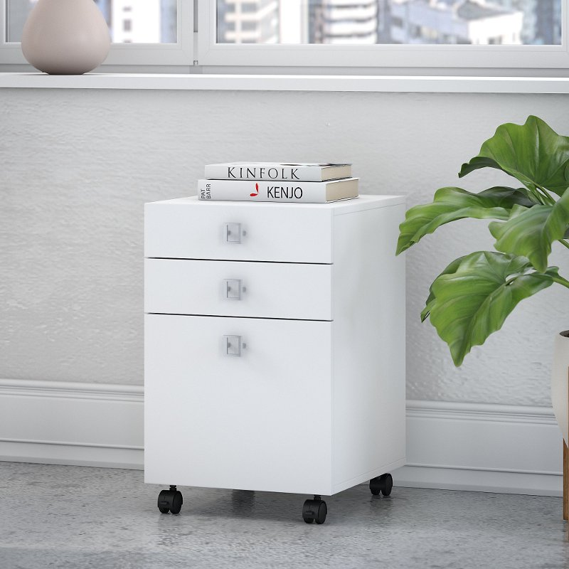 White 3 Drawer File Cabinet   Echo