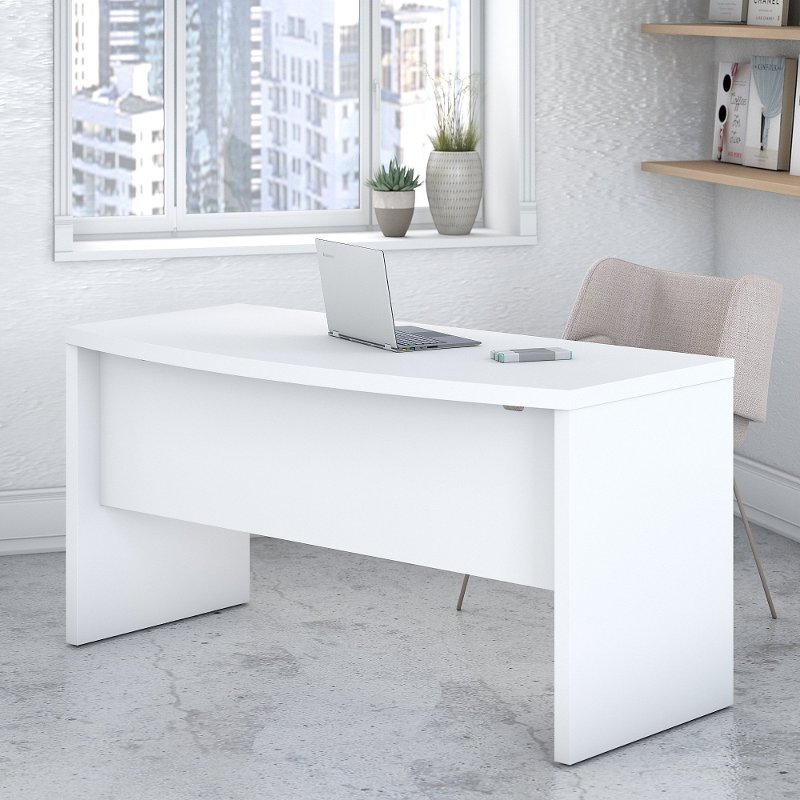 White Bow Front Desk 60 Inch Echo Rc Willey