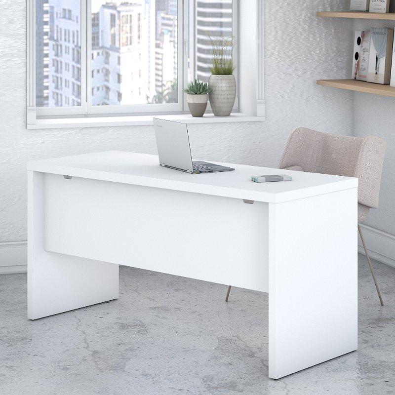 White Credenza Desk (60 Inch)   Echo