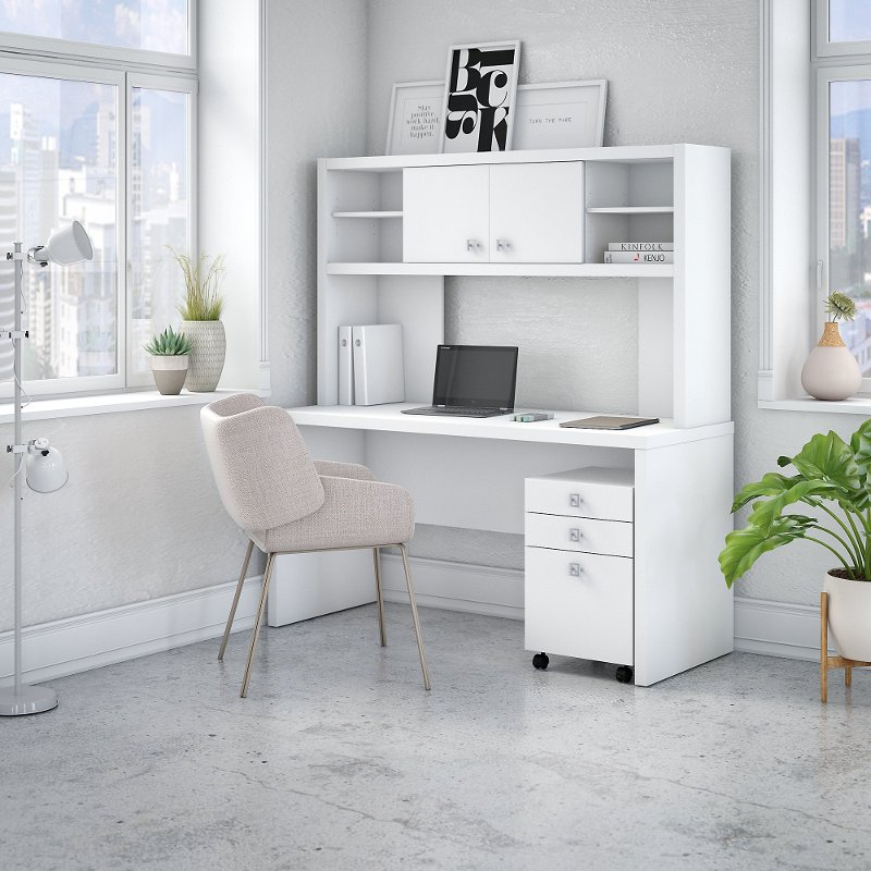 White Credenza Desk With Hutch And File Cabinet Echo