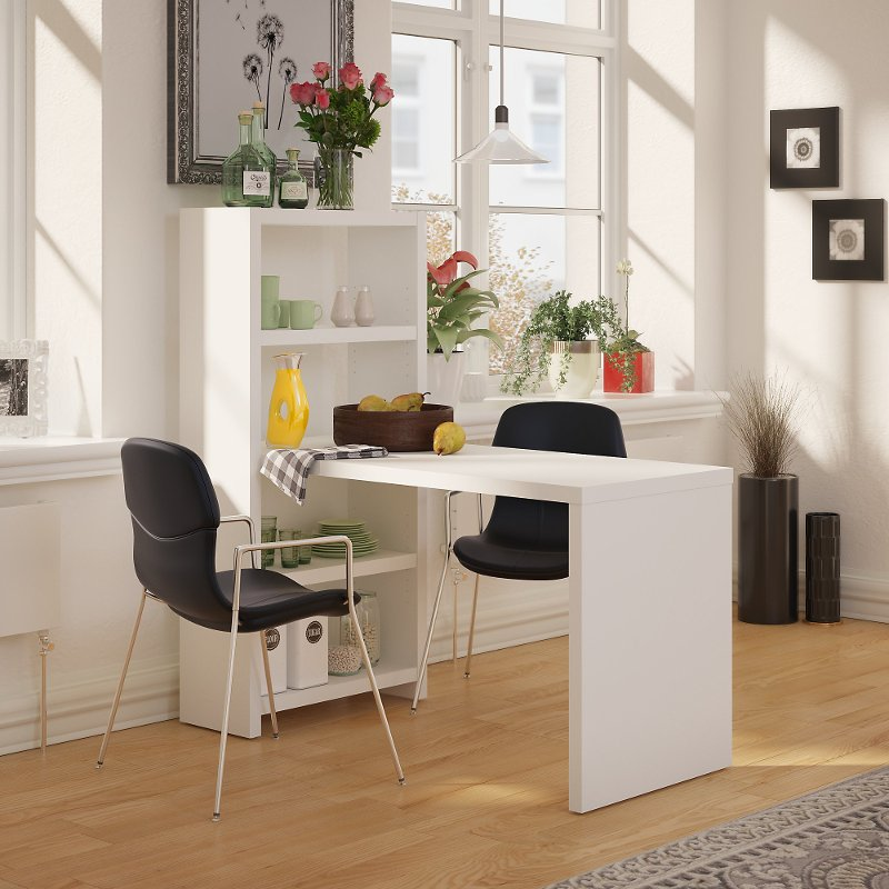White Dining Table And Bookcase 56 Inch Echo Rc Willey Furniture