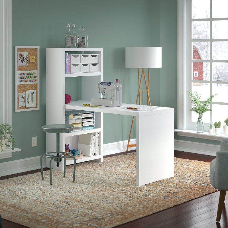 White Craft Table And Bookcase (56 Inch)   Echo