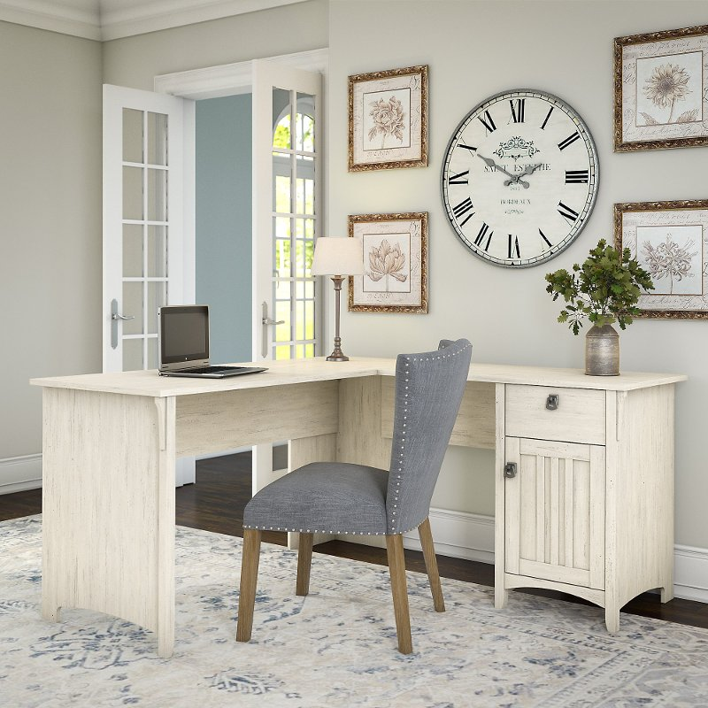 Antique White L-Shaped Desk with Storage - Salinas - Antique White L-Shaped Desk With Storage - Salinas RC Willey