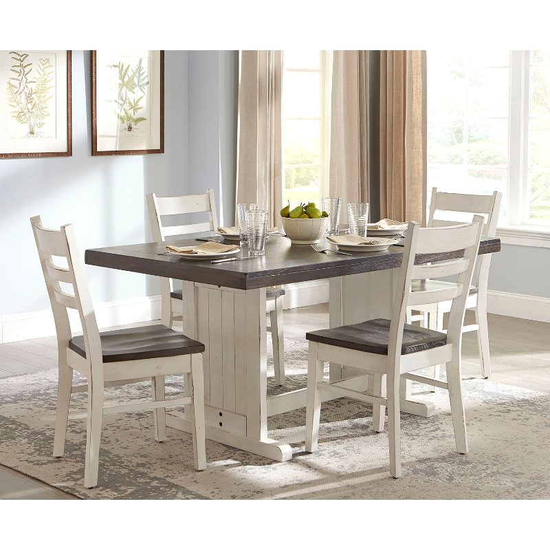 French Country White Two Tone 5 Piece Dining Set Bourbon County Rc Willey Furniture