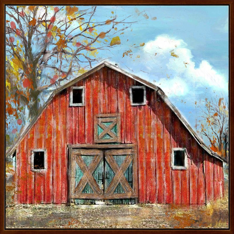 Red Country Barn Hand Painted Framed Wall Art | RC Willey Furniture ...
