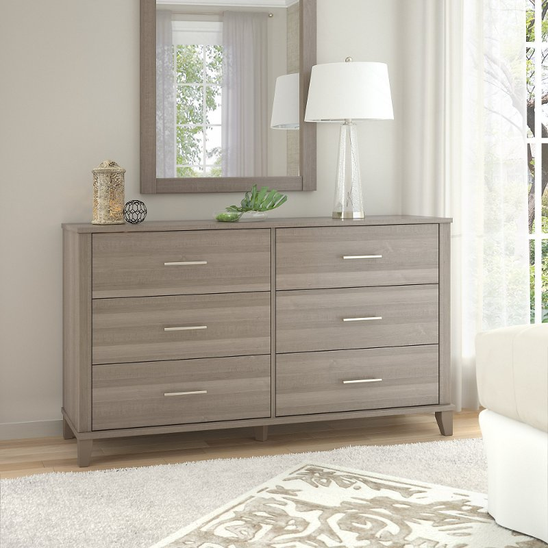 Ash Furniture Store: Ash Gray 6-Drawer Double Dresser - Somerset