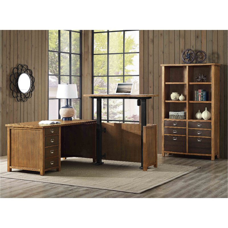 Rustic Hickory Brown L Shaped Standing Desk Heritage