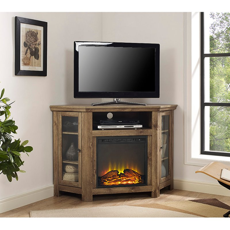 Super 48 Inch Rustic Barn Wood Corner Tv Stand With Fireplace Download Free Architecture Designs Estepponolmadebymaigaardcom