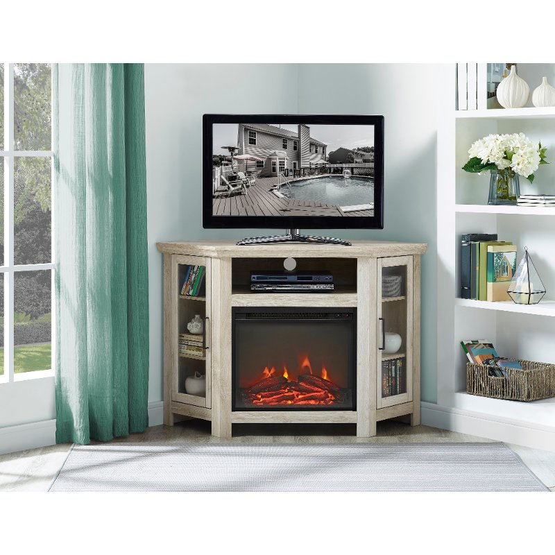 48 Inch White Oak Corner Tv Stand With Fireplace Rc Willey