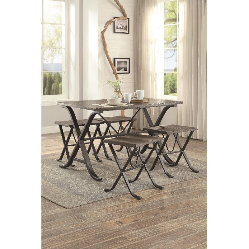 Charmant 5 Piece Pine And Metal Dining Set   Fremont