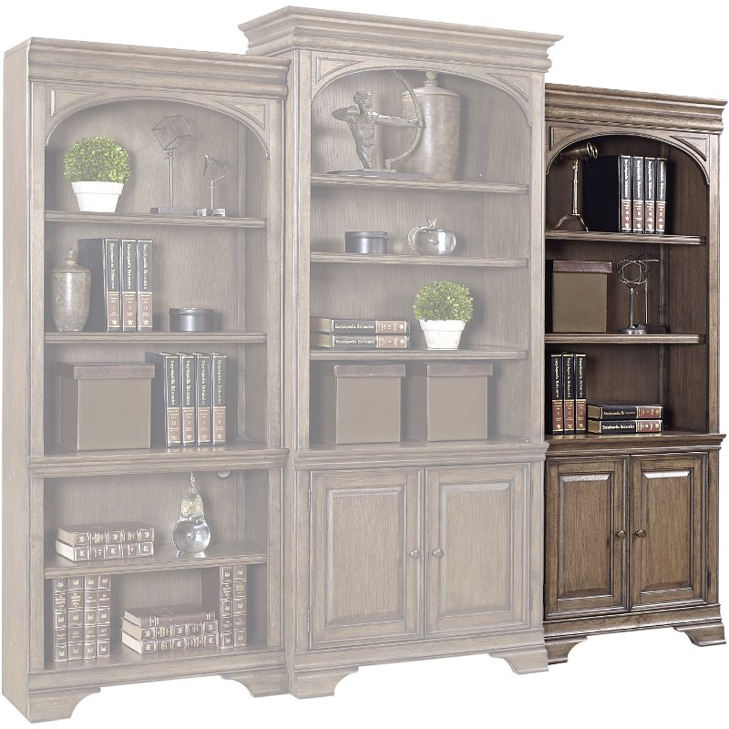 Chestnut Brown Bookshelf With Doors Arcadia Rc Willey Furniture Store - The-elegance-of-the-arcadia