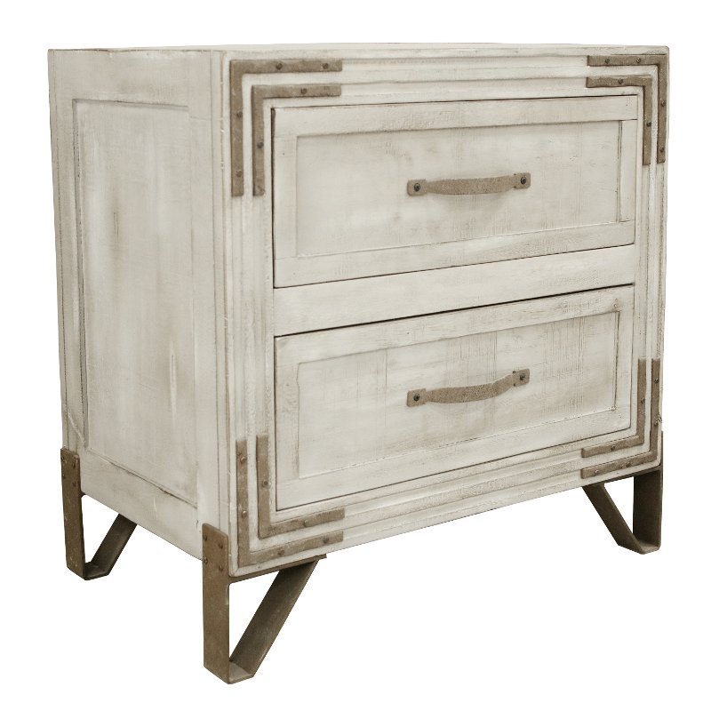 Pearl White Rustic Contemporary Nightstand - Camelia
