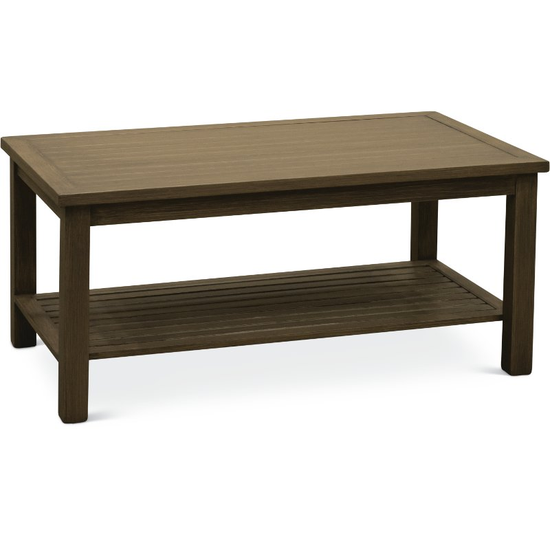 Brushed Birch Outdoor Aluminum Coffee Table Plank