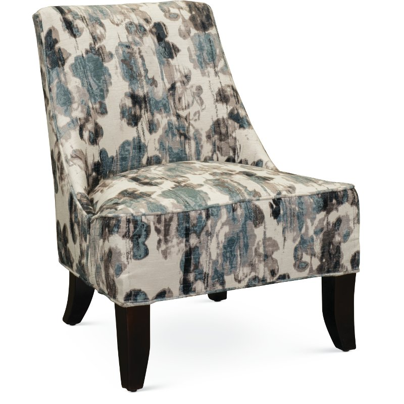 Armless Cream And Aqua Accent Chair   Diana