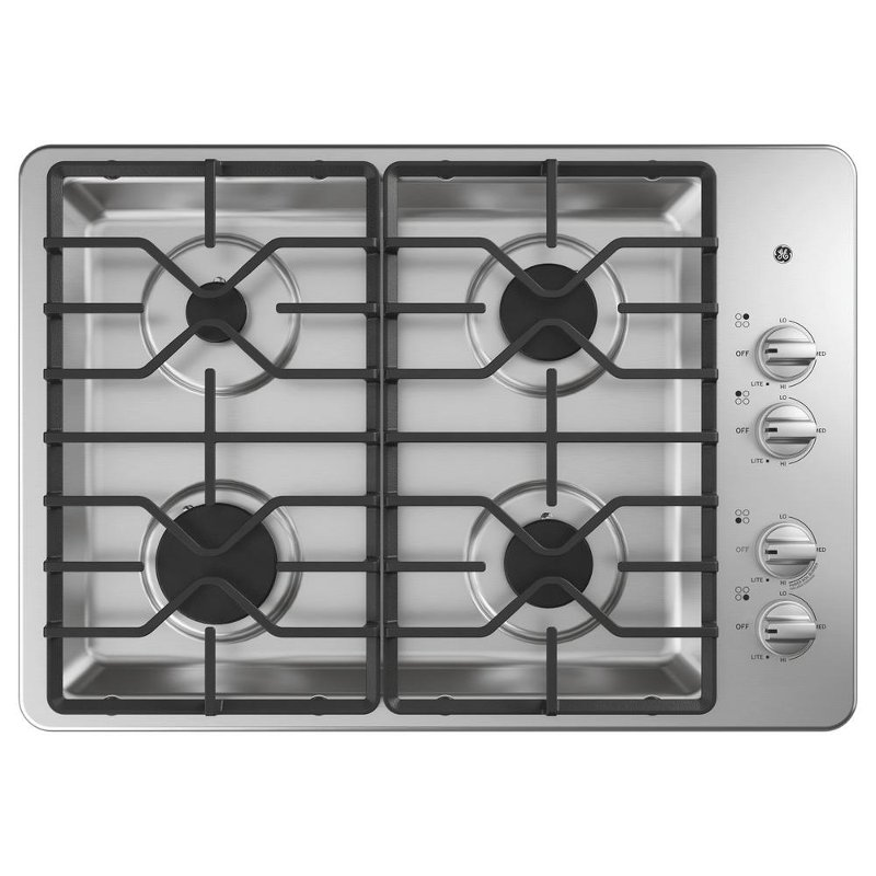 Ge 30 Inch Gas Cooktop With 4 Sealed Burners Stainless Steel
