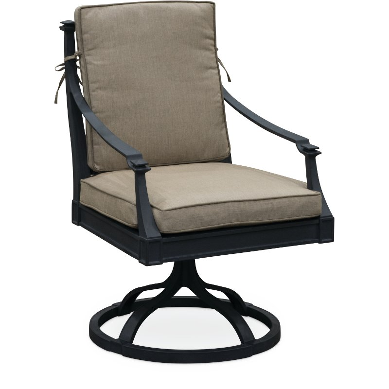 Pleasing Black And Tan Outdoor Patio Swivel Chair Antioch Cjindustries Chair Design For Home Cjindustriesco
