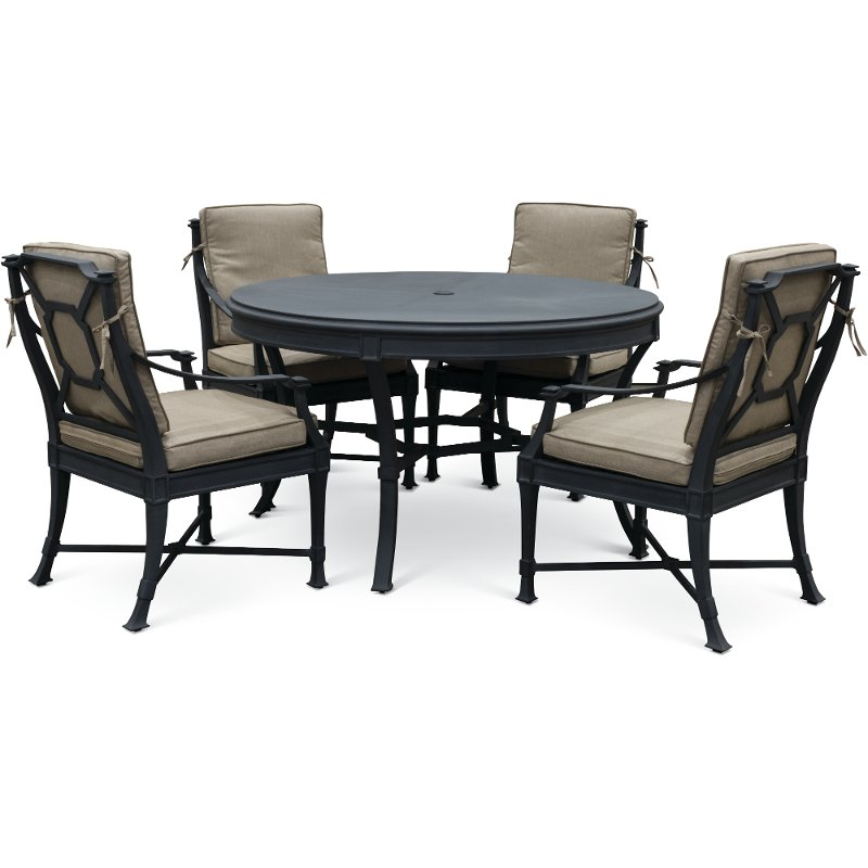 Groovy Black And Tan 5 Piece Outdoor Patio Dining Set Antioch Gmtry Best Dining Table And Chair Ideas Images Gmtryco
