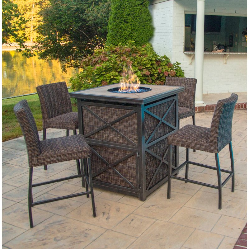 5 Piece Fire Pit Bar Height Patio Set Franklin Rc
