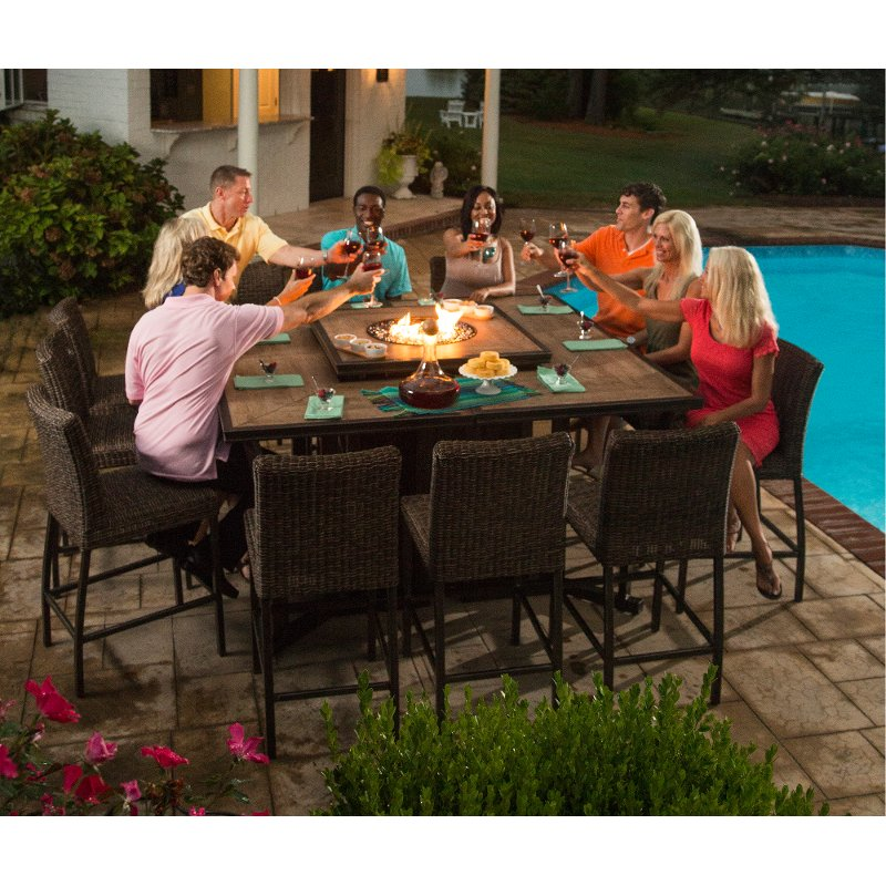 11 Piece Outdoor Patio Fire Pit Dining Set Franklin