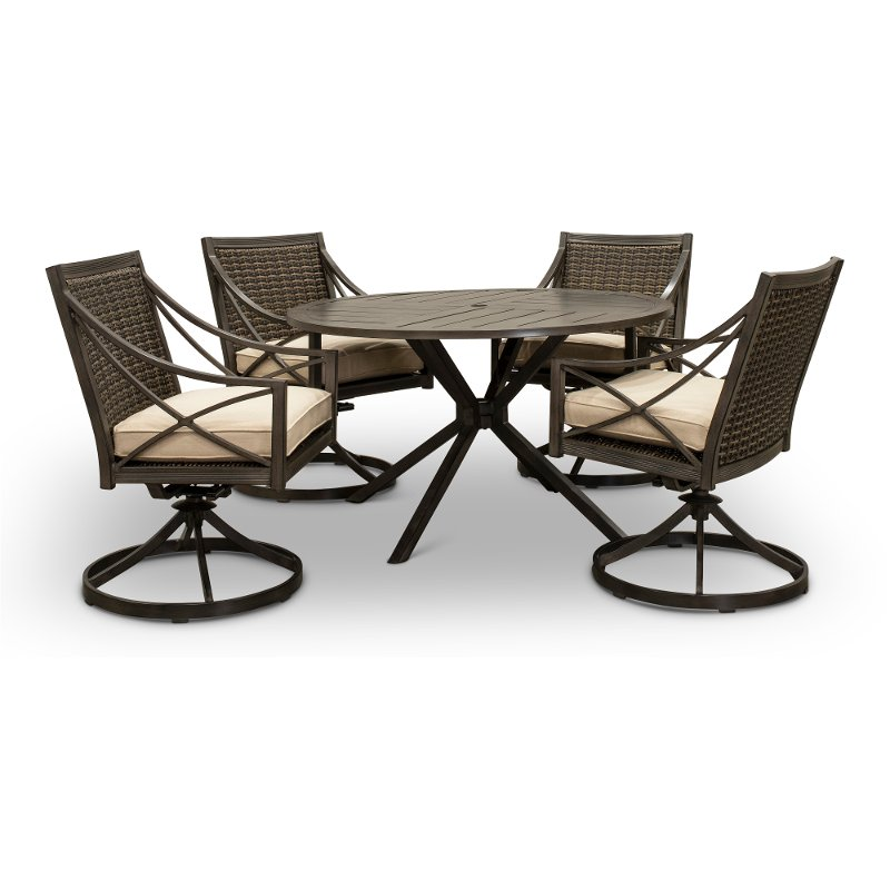 Brown 5 Piece Round Table Patio Dining Set Davenport