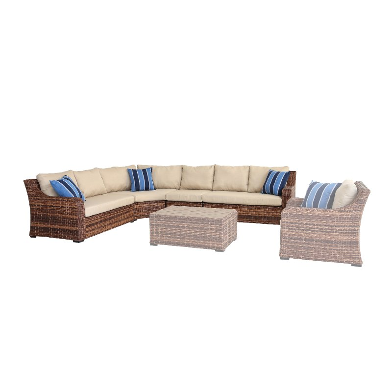 4 Piece Outdoor Patio Sectional Sofa - Tortola