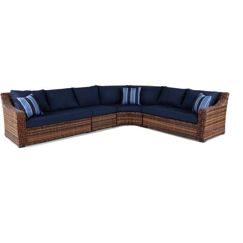 Terrific 4 Piece Outdoor Patio Sectional Sofa Tortola Short Links Chair Design For Home Short Linksinfo