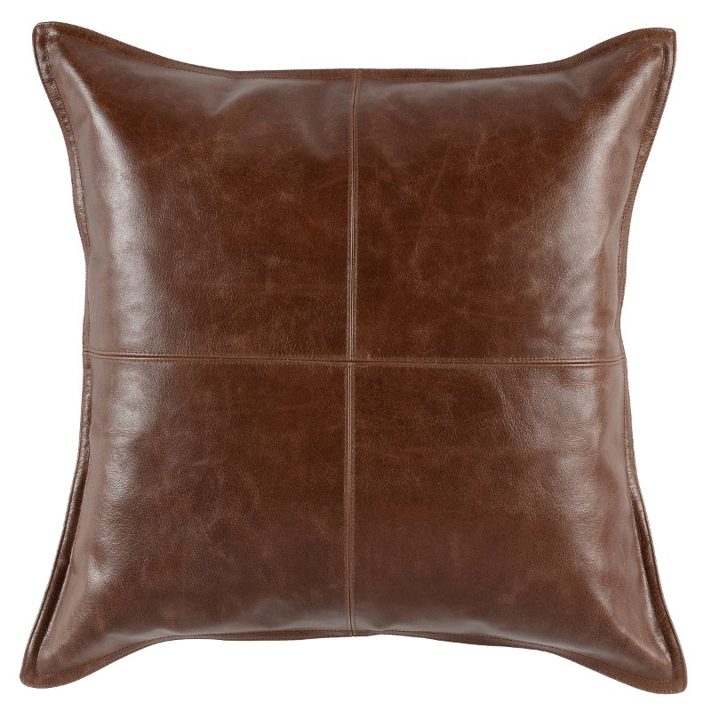 Kona Brown Pieced Leather Throw Pillow Rc Willey Furniture Store