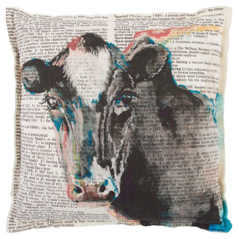 Cream 20 Inch Cow Throw Pillow Rc Willey Furniture Store