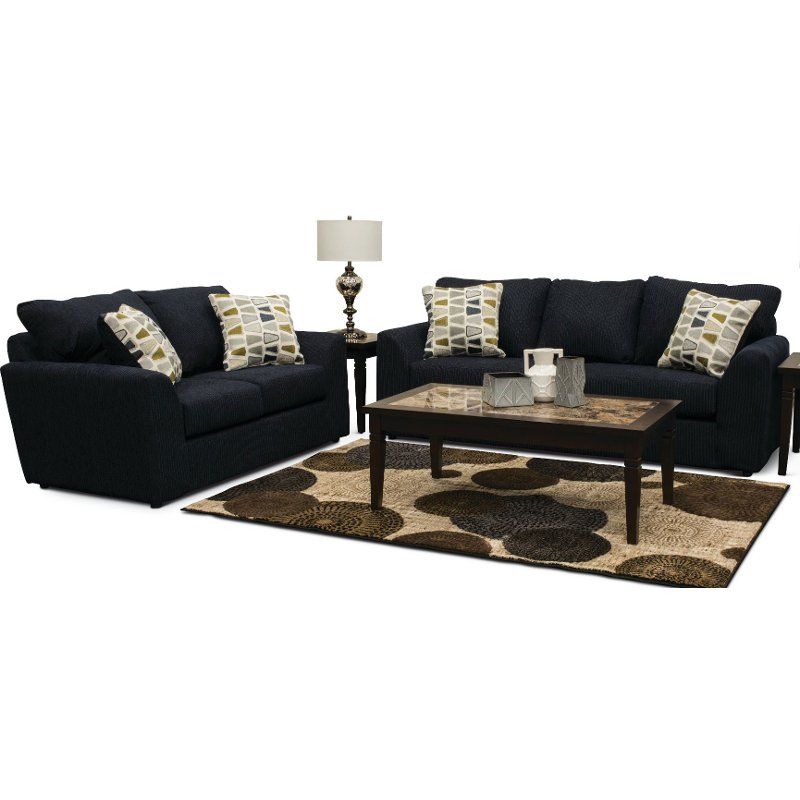 Charmant Casual Contemporary Dark Blue 2 Piece Living Room Set   Hannah