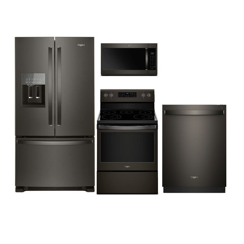 whirlpool 4 piece kitchen appliance package with electric range black stainless steel rc. Black Bedroom Furniture Sets. Home Design Ideas