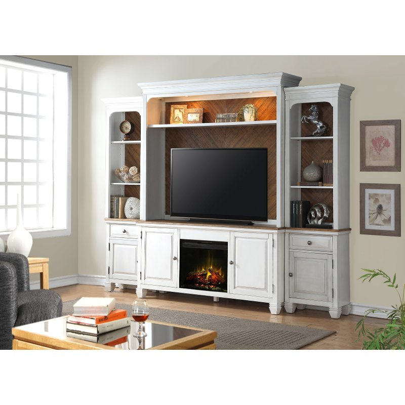 White 4 Piece Classic Fireplace Entertainment Center   Camden | RC