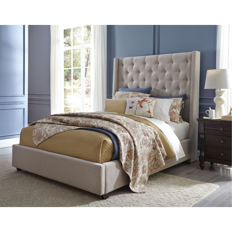 American Furniture Warehouse Mail: Classic Sand Queen Upholstered Bed - Vinings