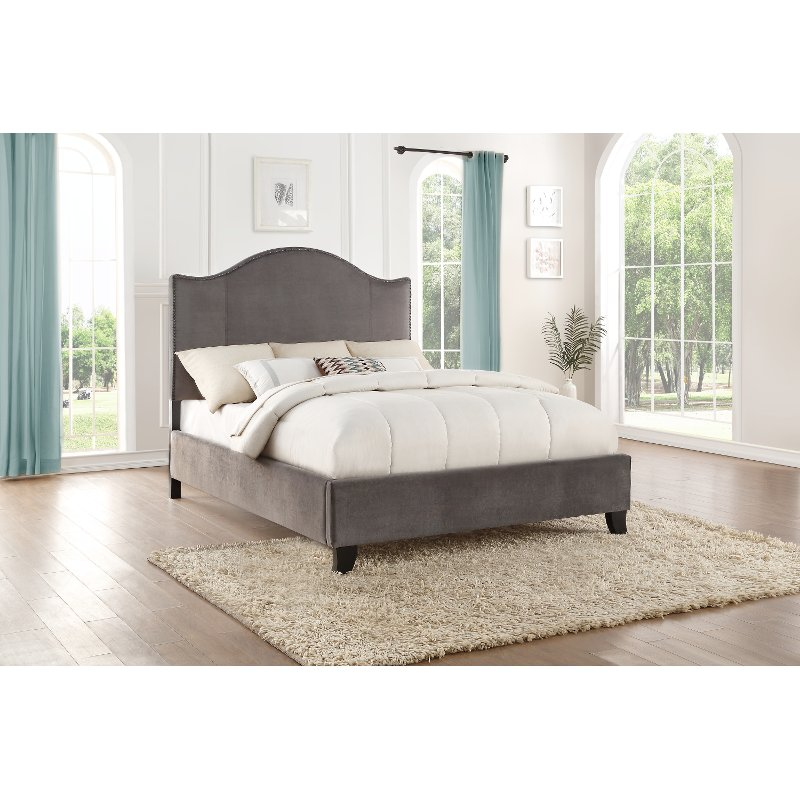 Rc Willey Stores: Classic Gray Queen Upholstered Bed - Dalmore