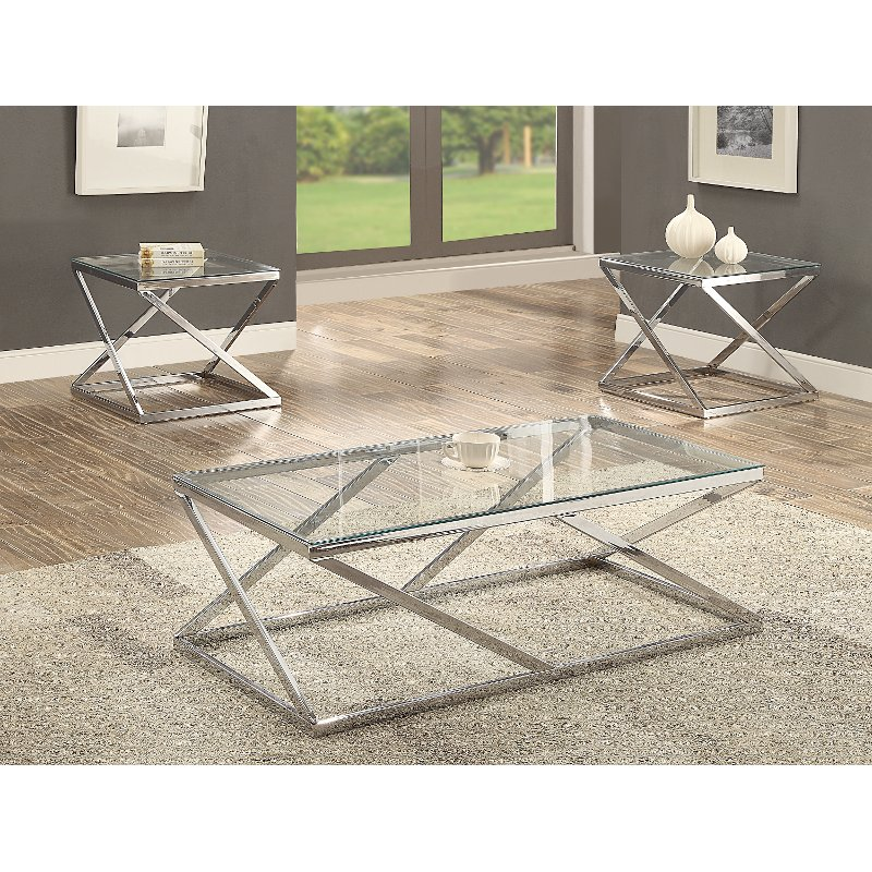Superieur Chrome And Glass 3 Piece Coffee Table Set