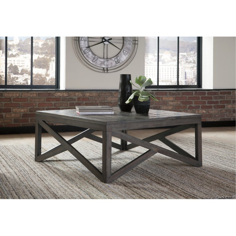 Rustic Charcoal Brown Square Coffee Table Haroflyn