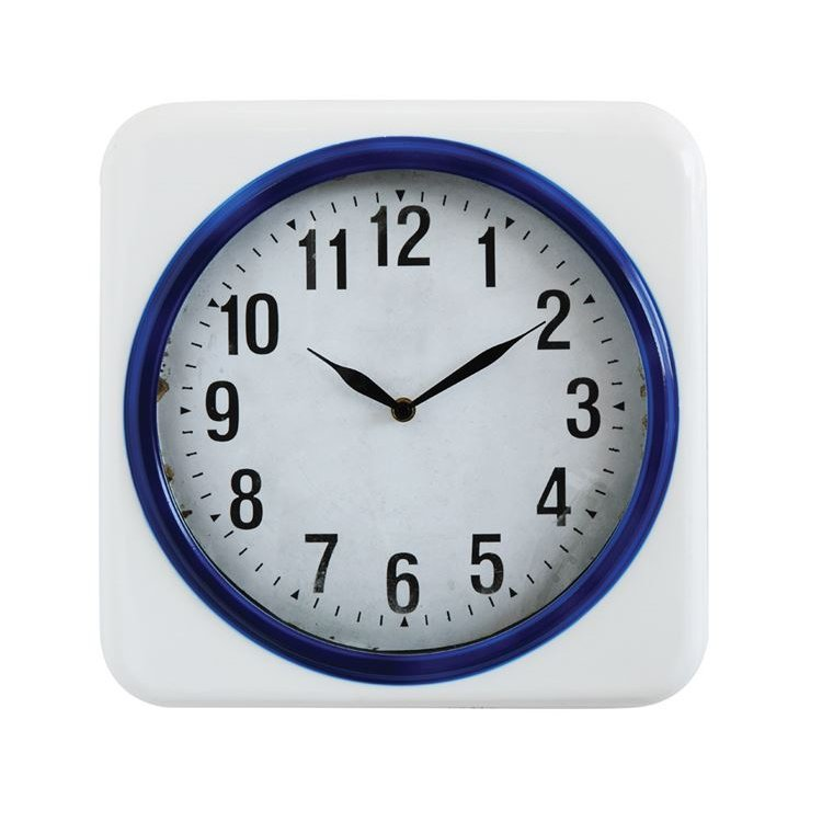 Rc Willey Lehi Ut: White And Blue Metal Wall Clock
