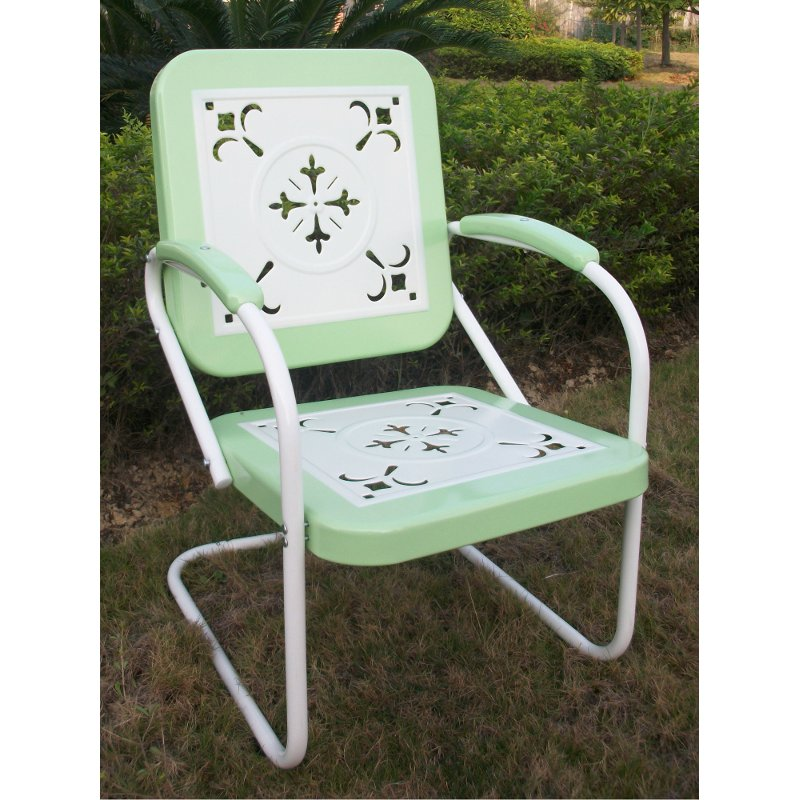 71340 Lime Green Chair Retro Metal