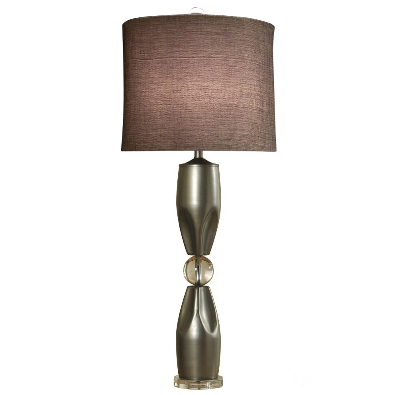 Brushed Steel Table Lamp With Metal Body And Crystal Base Rc