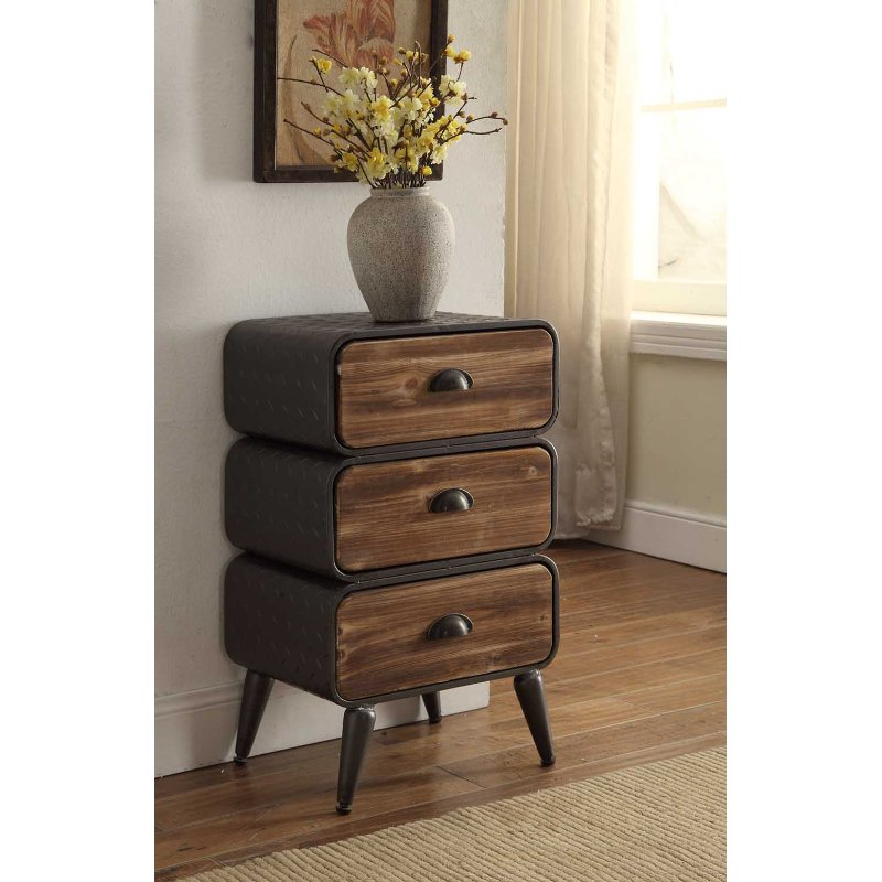 Modern Industrial Metal and Pine 3-Drawer Chest - Urban Loft