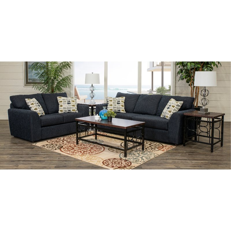 Genial Contemporary Dark Blue 5 Piece Living Room Set   Hannah | RC Willey  Furniture Store