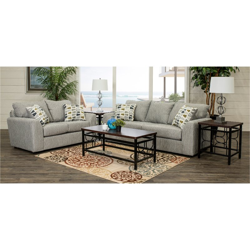 Casual Contemporary Gray 5 Piece Living Room Set - Hannah