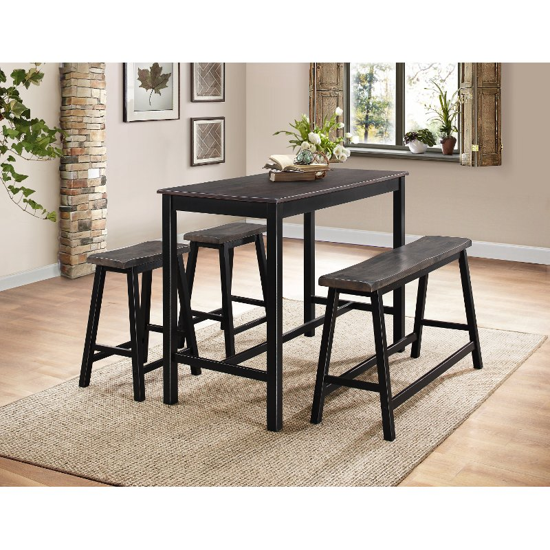 Dining Room Sets On Clearance: Black And Gray Two-Tone 4 Piece Counter Height Dining Set
