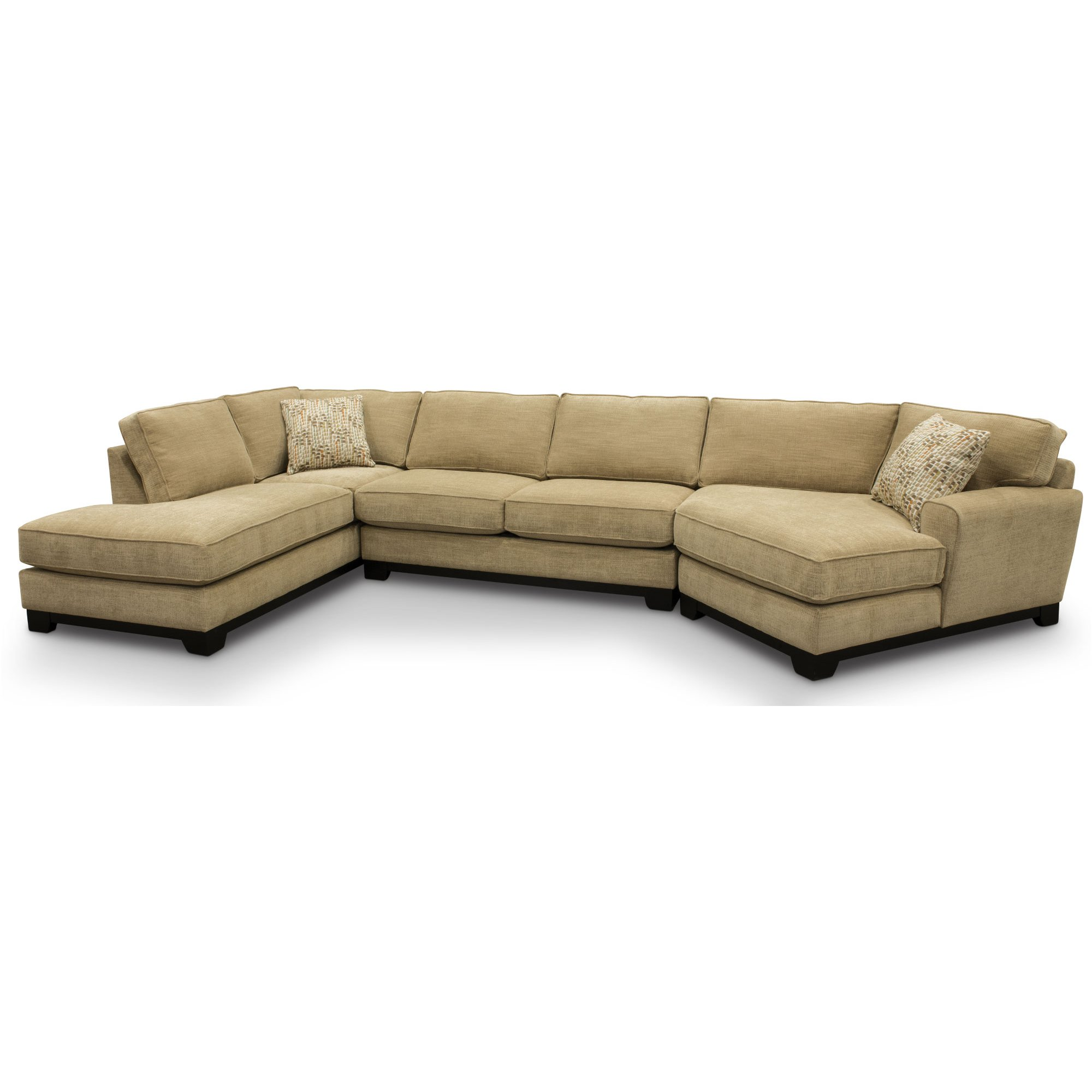 Beige 3 Piece Sectional Sofa with LAF Chaise - Pisces